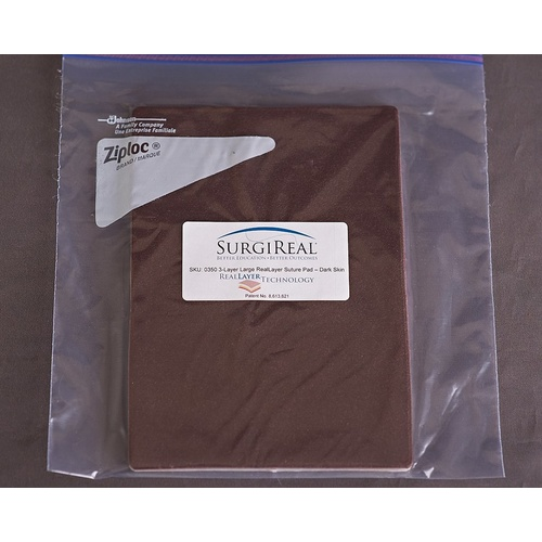 3-Layer Large (17.5x24.5 cm) RealLayer Simulated Tissue Pad, Dark Skin